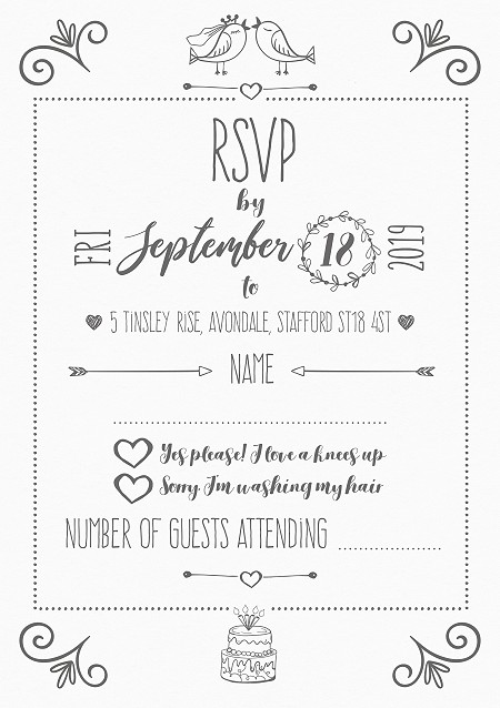 Lovebirds RSVP Cards