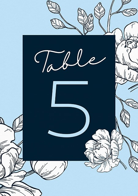 Peony Table Numbers