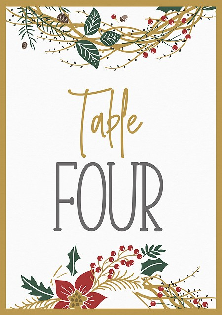 Noël Table Numbers