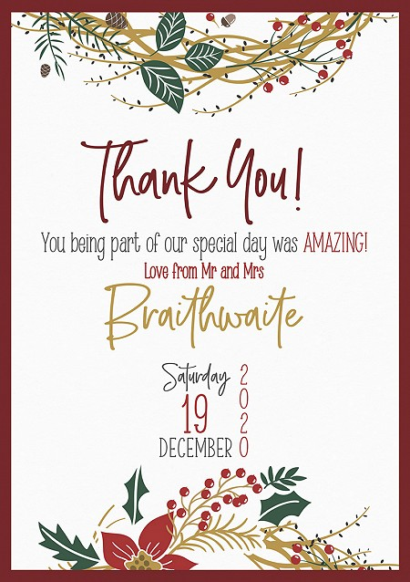 Noël Thank You Cards