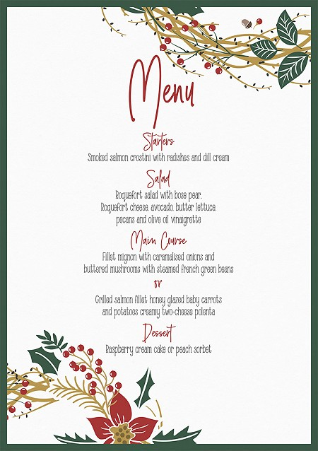 Noël Wedding Menus